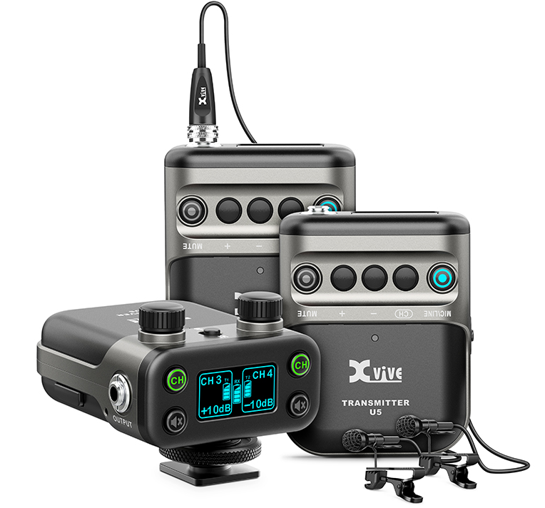Xvive Audio U5T2 2-Person Camera-Mount Digital Wireless Omni Lavalier Microphone System for Cameras