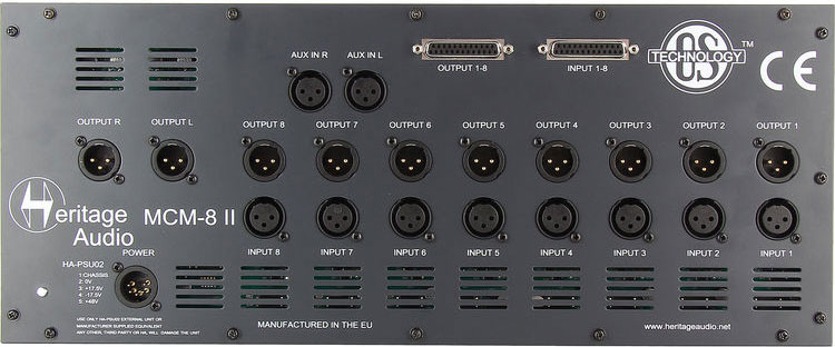 Rear of Heritage Audio MCM8 II Mixer
