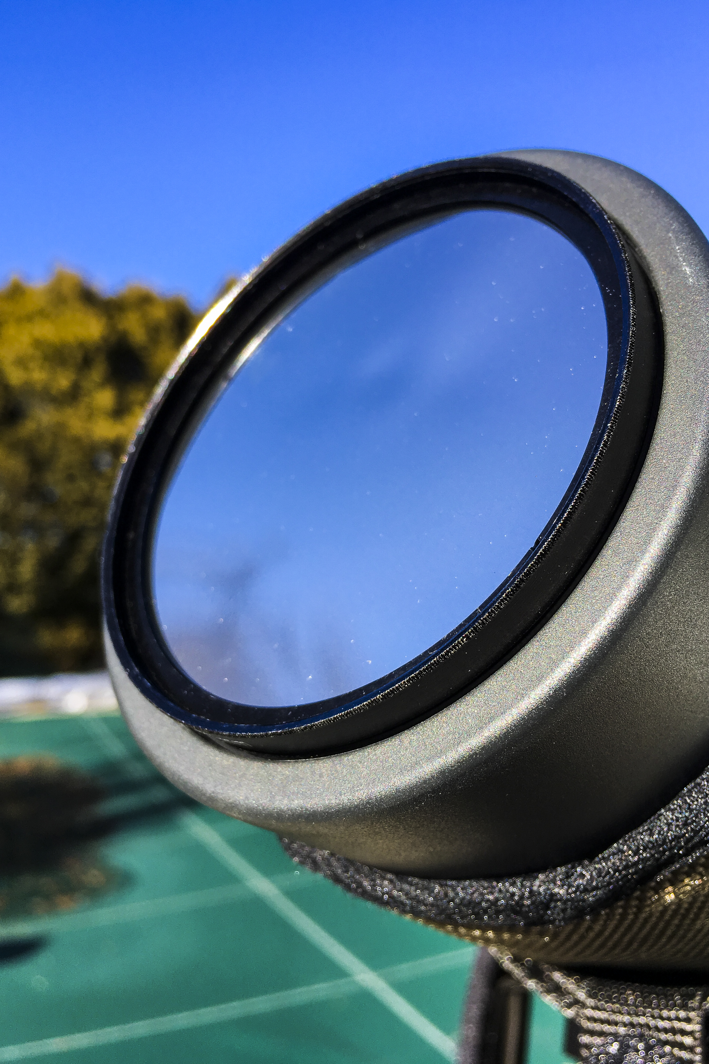 A Mylar filter on the front of a Leica APO Televid 77 spotting scope