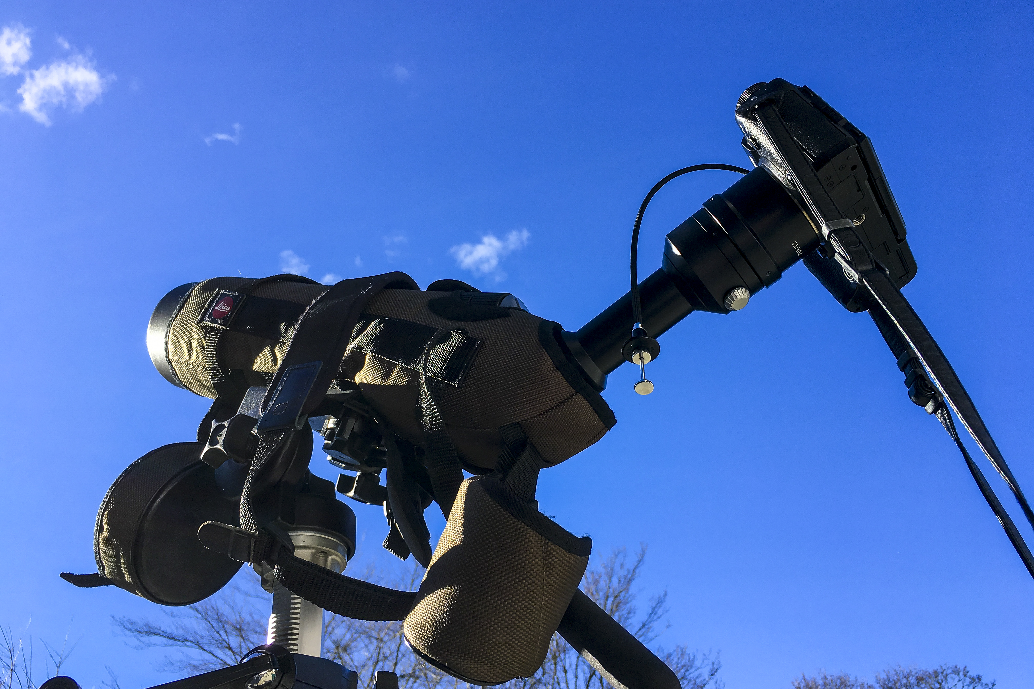 Digiscoping the sun with a Leica APO Televid 77 spotting scope, eyepiece adapter, and Fujifilm X-T2 camera