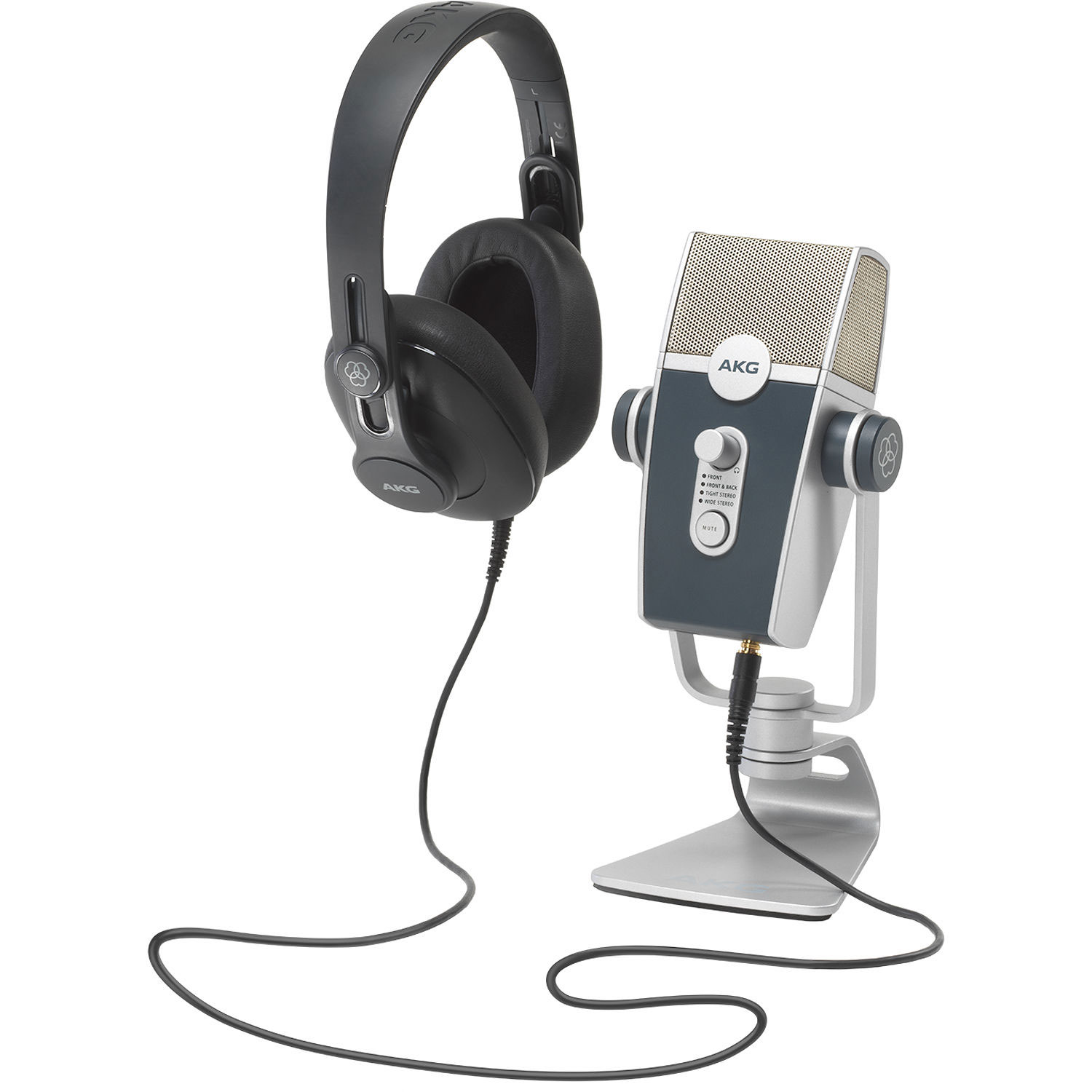 AKG Podcaster Essentials Lyra USB Microphone and AKG K371 Headphones