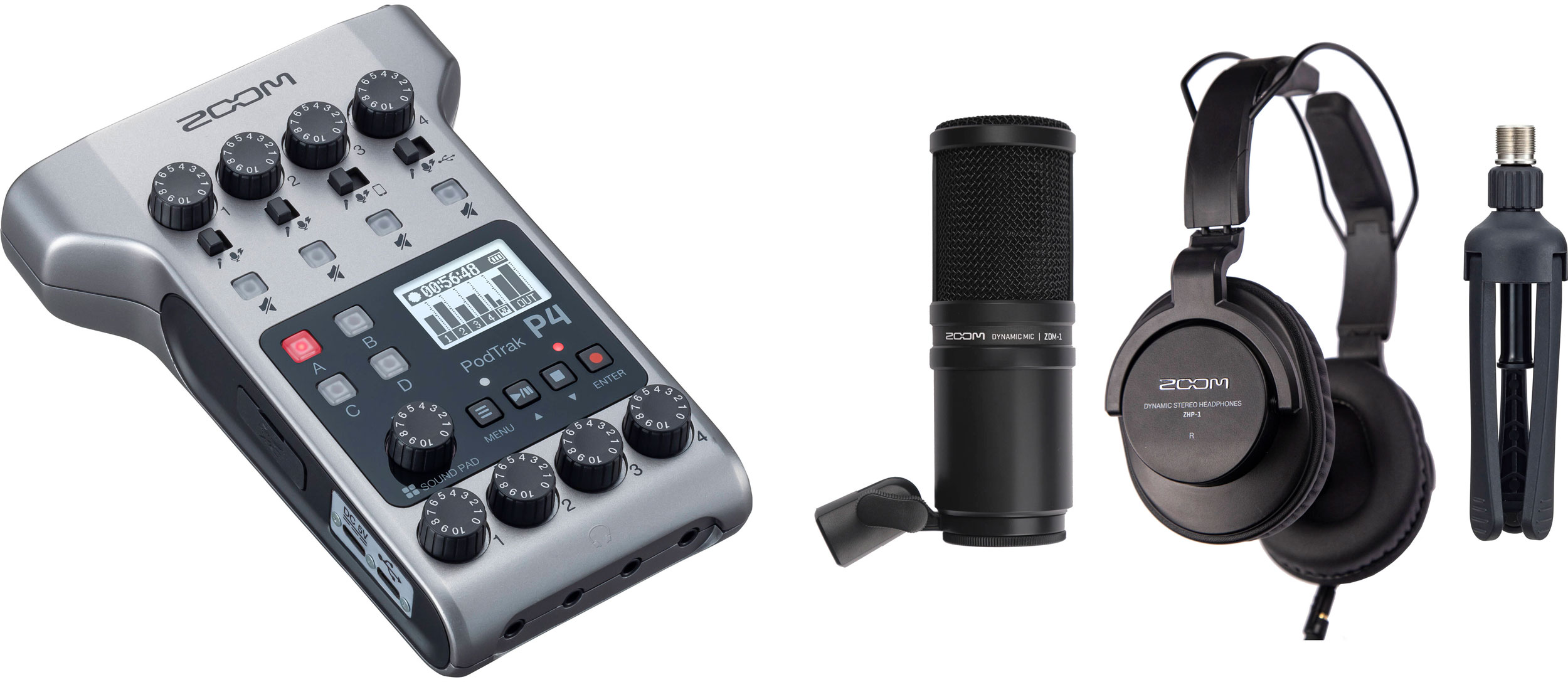 Zoom PodTrak P4 Portable Multitrack Podcast Recorder with 2-Person Podcast Mic Pack Kit