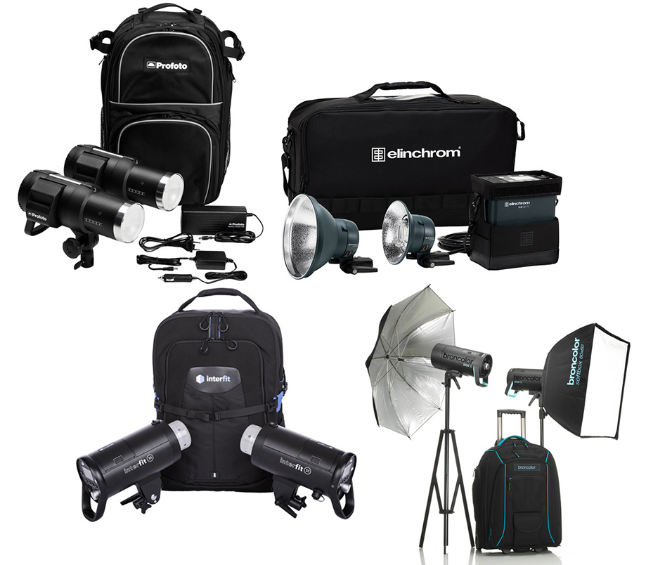 Clockwise from top left: Profoto B1X 500 AirTTL 2-Light Location Kit, Elinchrom ELB 500 TTL Dual To Go Kit, Broncolor Siros L 800Ws Battery-Powered 2-Light Outdoor Kit 2, and Interfit S1 On-Location Portable 2-Light Backpack Kit