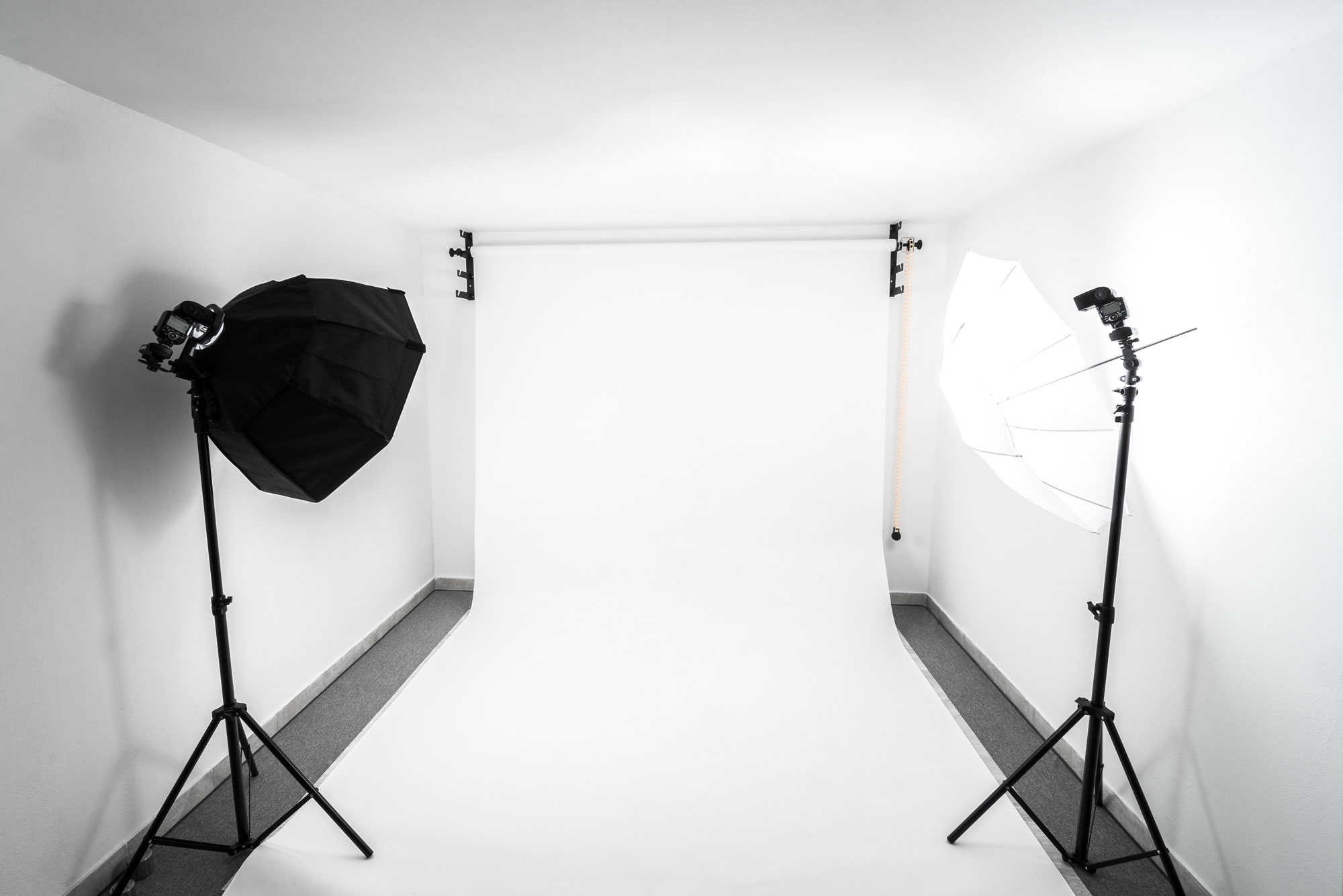 Ideally, you can allocate a space in your home to use as a studio so you don't have to set everything up and tear it all down for each shoot.