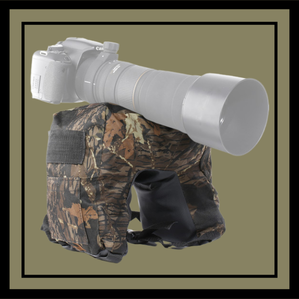 Movo Photo THB03 Camouflage Camera Lens Bean Bag with Head Mounting Plate (Deep Woods, Junior)