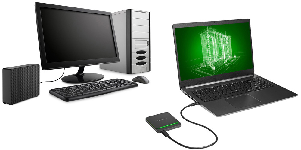 Seagate 8TB Expansion Desktop USB 3.0 External HD (left) and Seagate BarraCuda Fast External SSD Drive