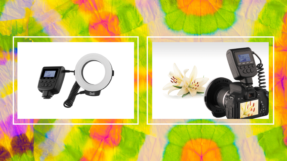 The Bolt VM-110 LED Macro Ring Light is an LED ring light that comes with color and frosted diffusers.