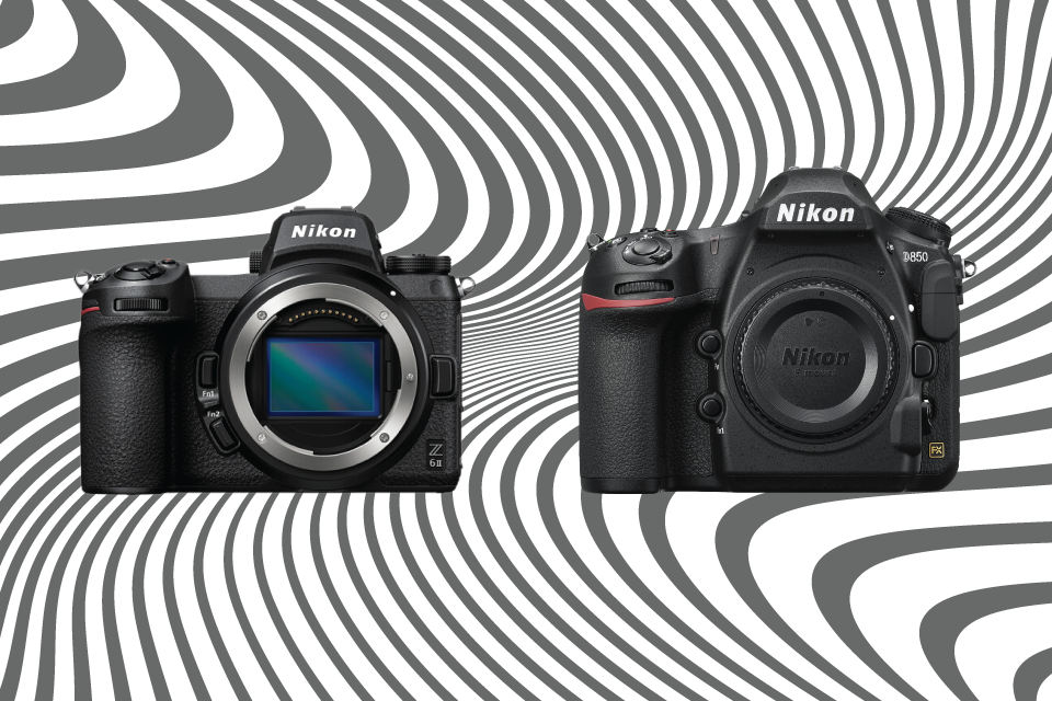 The difference in size between Nikon's Z 6II mirrorless camera (left) and the Nikon D850 DSLR (right) is quick to note. The circumference of the lens mount on the Z 6II is conversely larger than that of the lens mount on the D850, an advantage when designing higher-performance lenses.