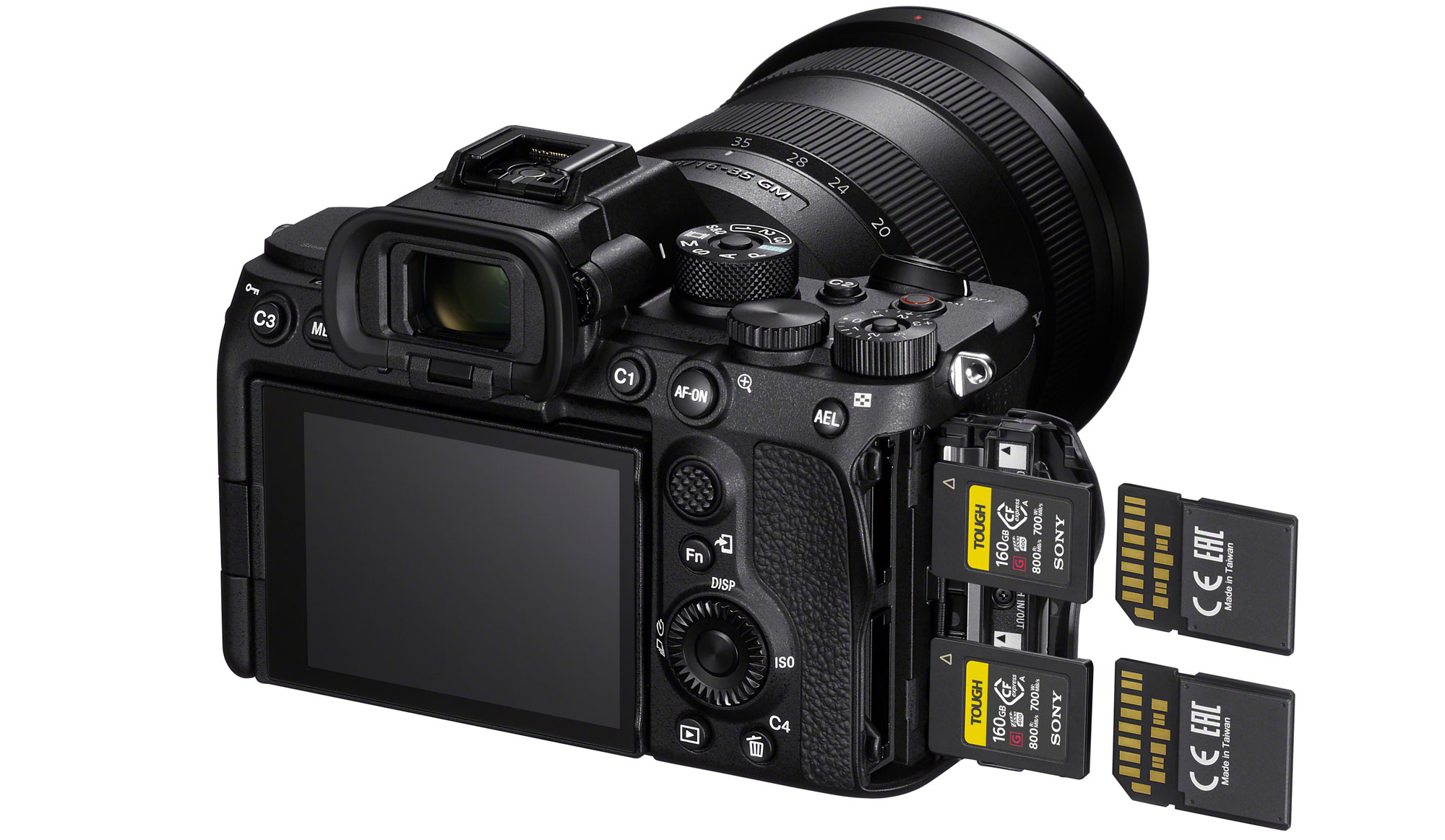 CFexpress Type A shown in use with the Sony a7S III. The card size offers enhanced speed while allowing the camera to support SD cards using a unique slot design.
