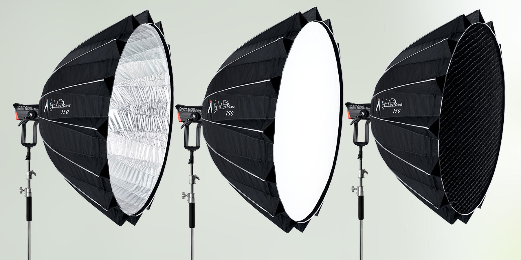 Aputure Light Dome 150 Softbox in Silver Interior (Left), White (Middle) and 45-Degree Fabric Grid (Right)