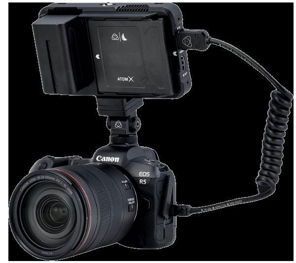 Canon EOS R5 camera and Atomos Ninja V+ monitor/recorder setup.