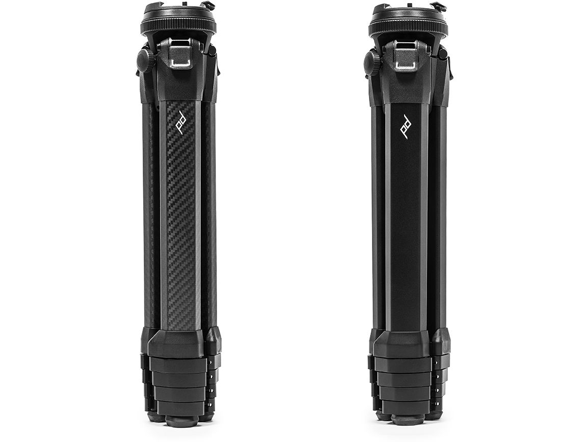 Peak Design Travel Tripod in both carbon fiber and aluminum alloy