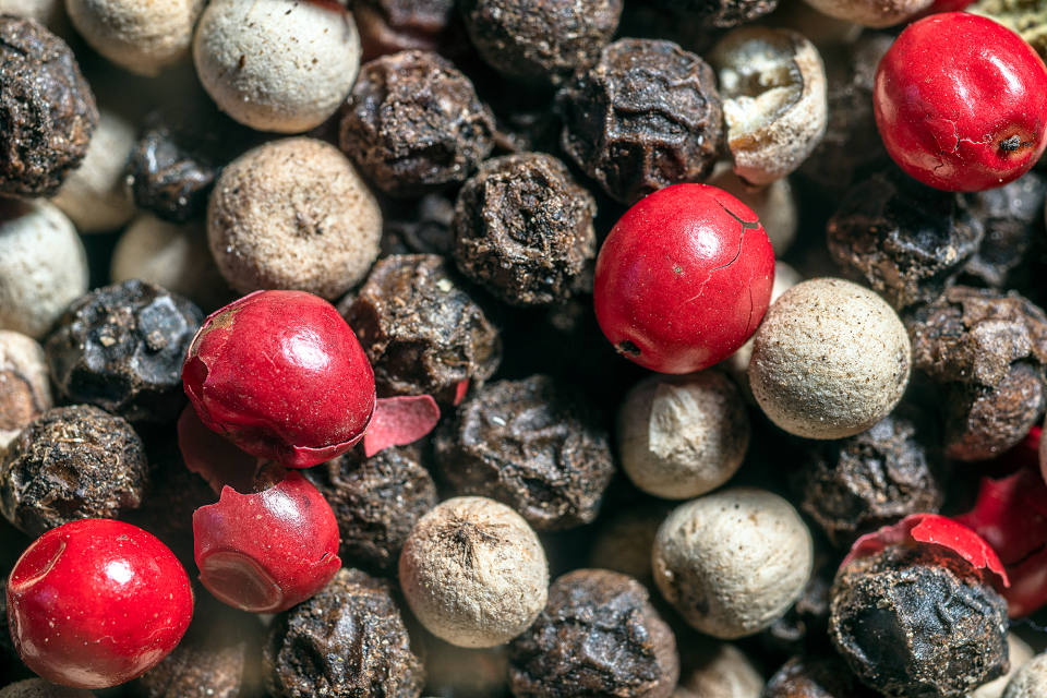 Assorted peppercorns magnified greater than life size resemble shards of ancient pottery at a remote archeological dig.