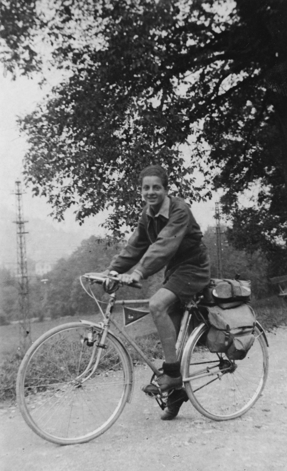 Kalischer on his bicycle as a teenager, France, late 1930s