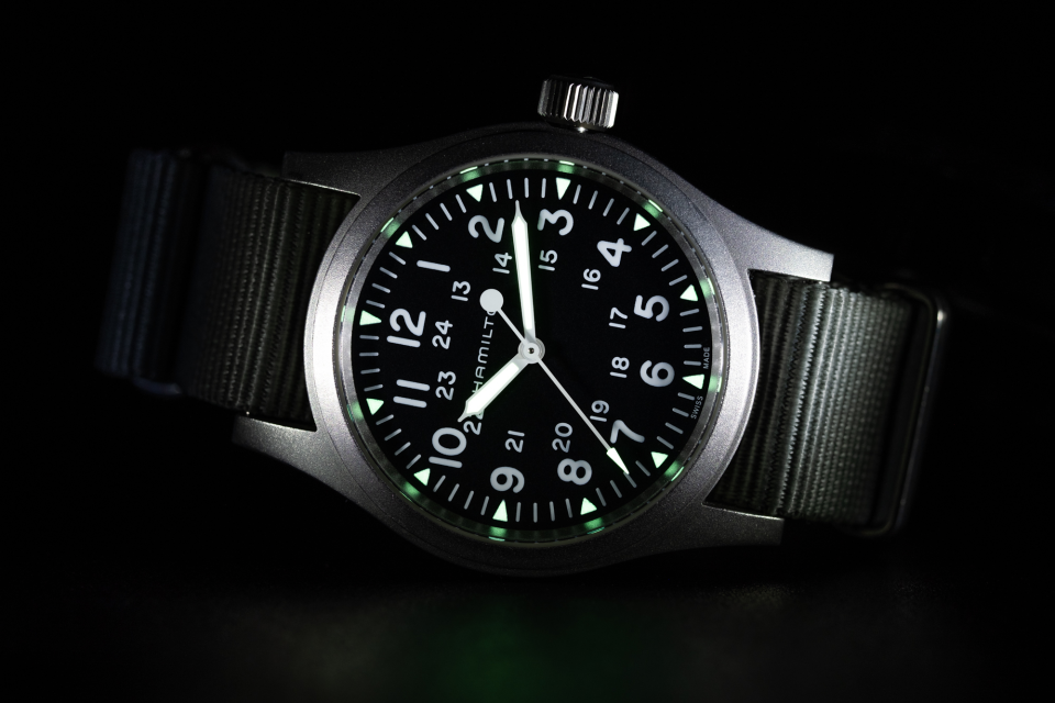 """The Hamilton Khaki Field Mechanical H69439931with BluShark NATO Strap showing some """"lume."""""""