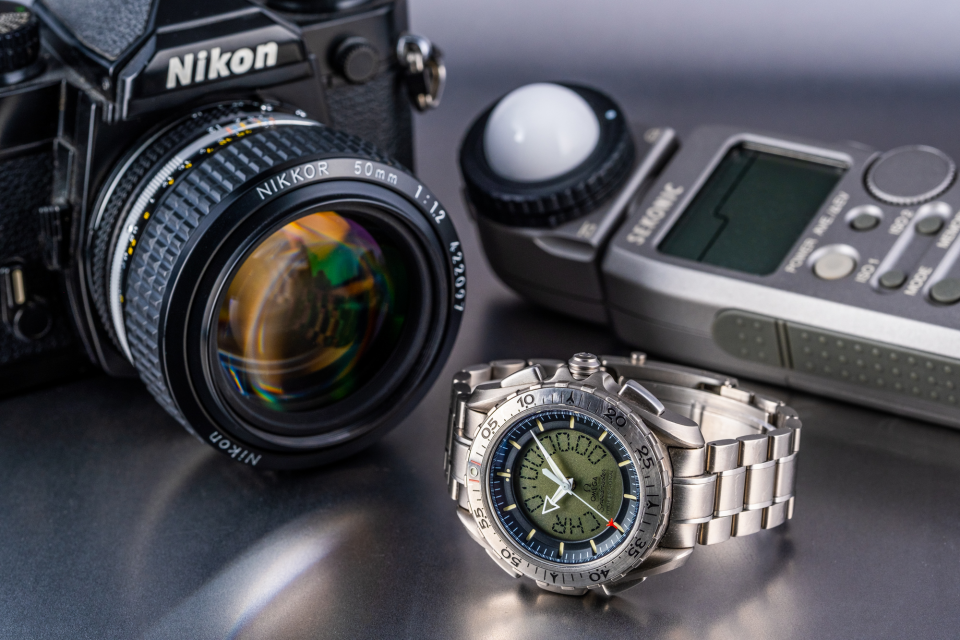 Cameras and watches go well together! Here is a Nikon FM3a with a Sekonic L-358 light meter and an Omega Speedmaster Professional X-33 Ref 3291.50.00.