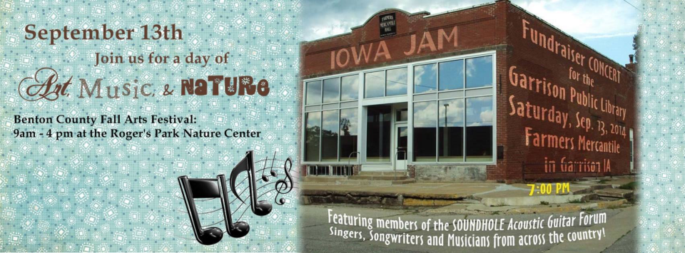 """An advertisement from 2014, announcing the upcoming Soundhole Forum fundraising concert at the Farmers Mercantile Hall, in Garrison: """"Singers, Songwriters and Musicians from across the country!"""""""