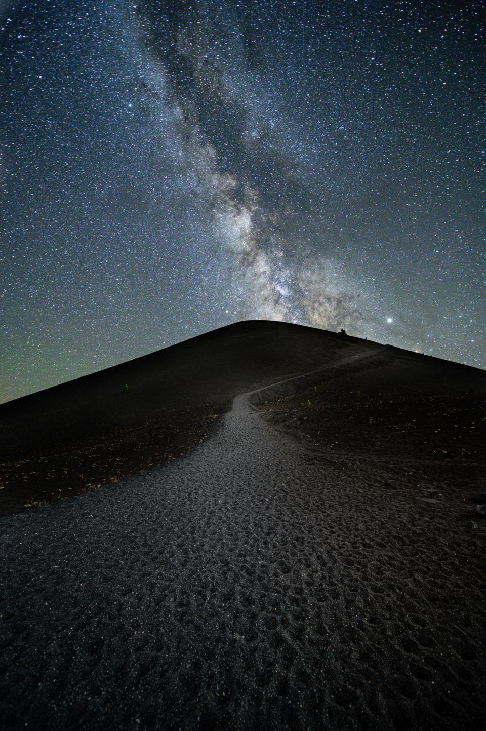 The Milky Way looms over Cinder Cone, Lassen Volcanic National Park, California.