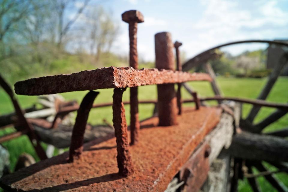 """The front element of my 16mm lens, which was focused at 12"""" with a 4mm extension tube, was about a half-inch from the corner of this old, rusty tractor axle. You learn to position your camera slowly and carefully when you're millimeters away from your subject, especially sharp, rusty subjects."""