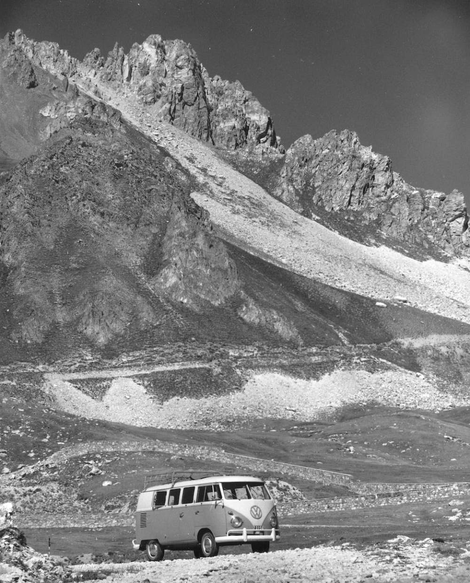 Kalischer's camper van at the base of a Mountain, Italy, 1962