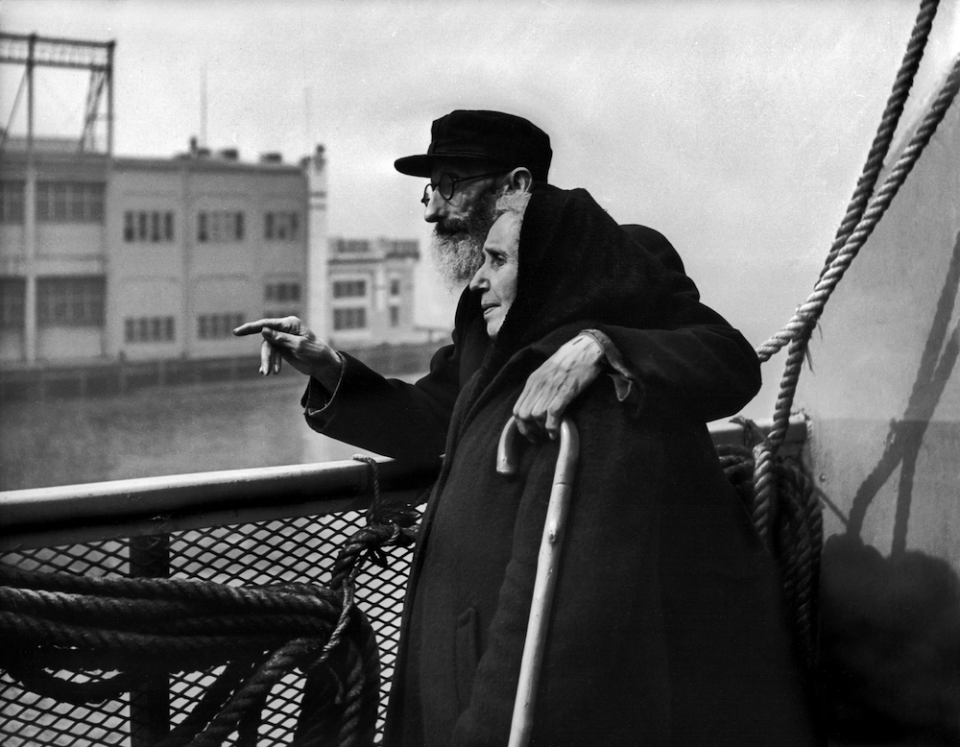Elderly Couple on Boat, Pointing, from the Displaced Persons series 1947-48