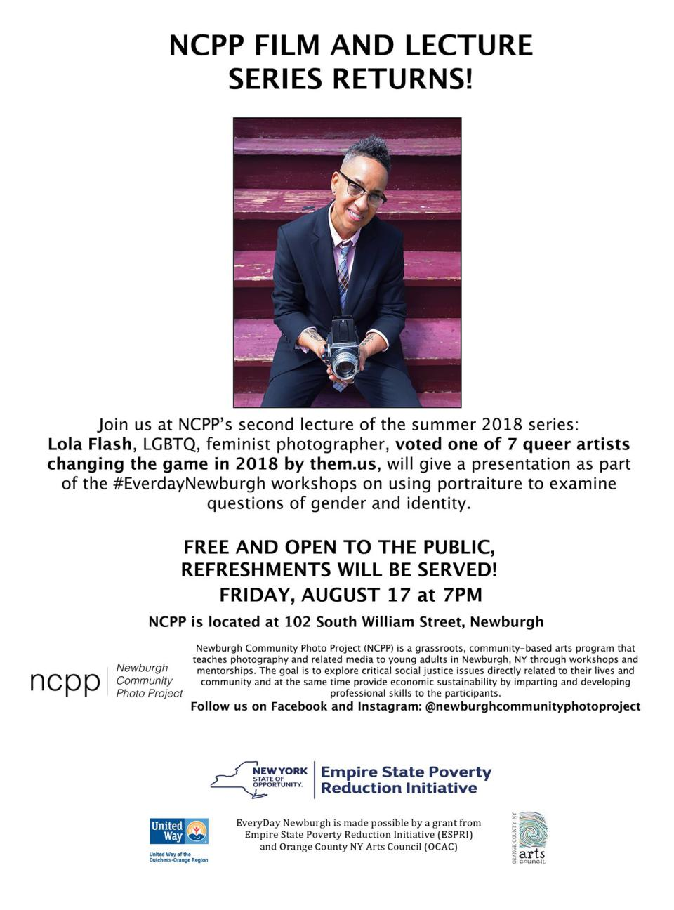 Poster announcing lecture by New York City photographer Lola Flash, NCPP Everyday Newburgh Workshop, 2018