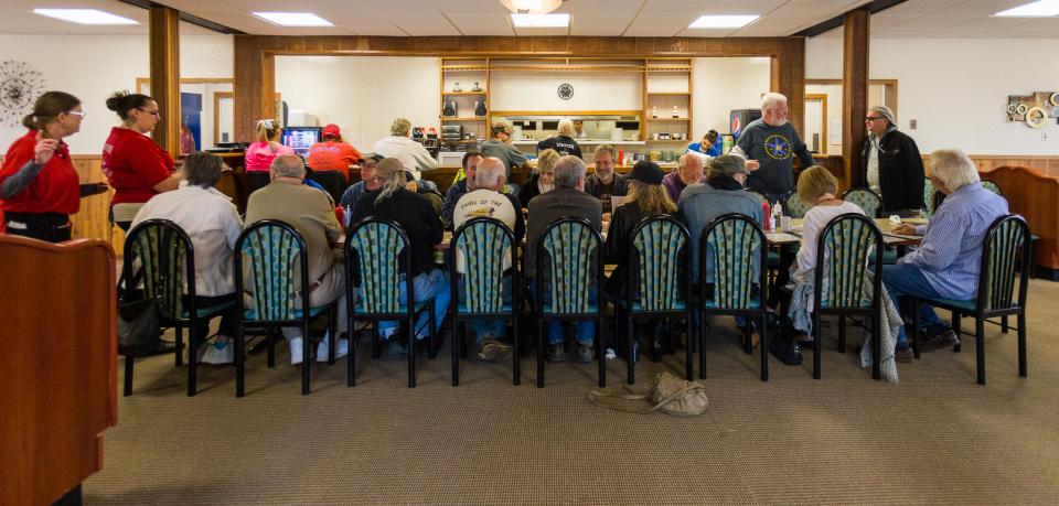 One of many Sunday goodbye breakfasts at the Vinton Family Restaurant.