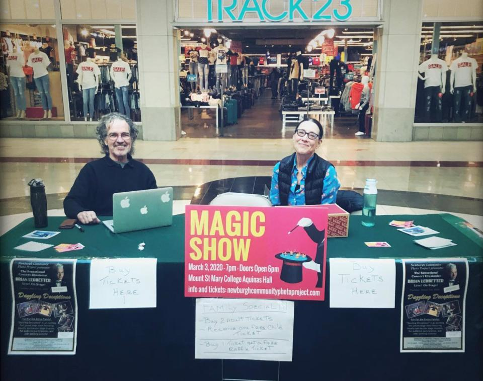 NCPP advisory board members Jim Megargee and Lori Grinker volunteer to sell tickets for the Brian Ledbetter Magic Dazzling Deceptions fundraiser, February 2020.