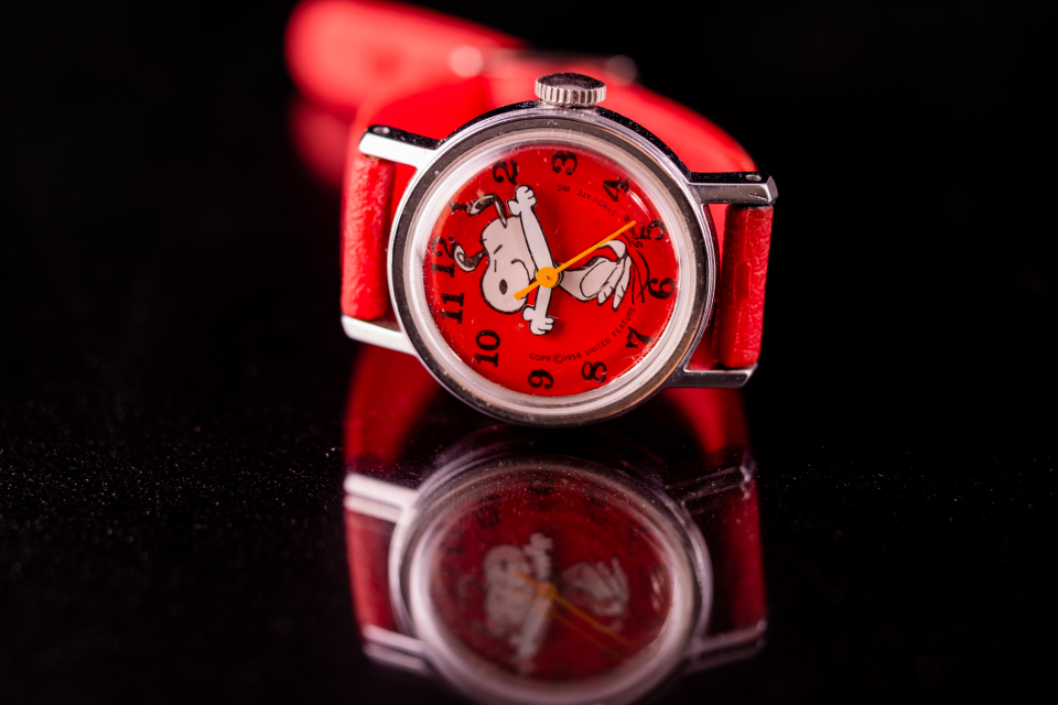 This was my first ever wristwatch. I lost it on the playground of my elementary school, and, thanks to an online auction site, I will be giving this one to my son as his first watch when he gets older. It is photographed here on a glass plate.