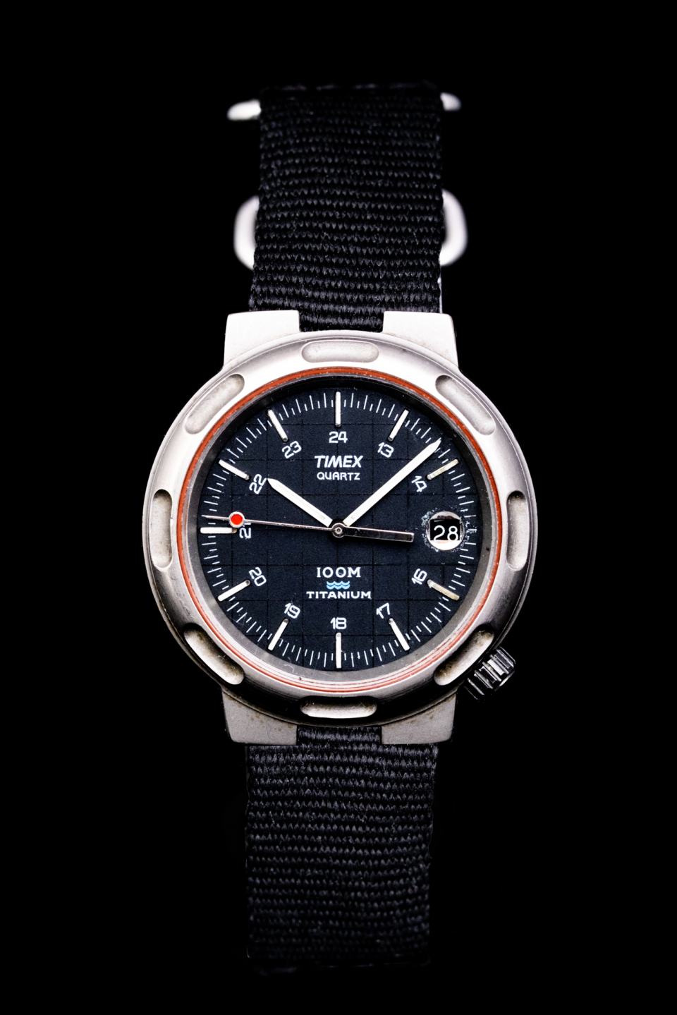 """This is the """"sportier"""" version of the Timex Titanium Sport watch shown above. This watch was advertised in aviation magazines with backdrops containing military fighter jets—effective advertising for me as a young wannabe pilot who made this one of my early grail watches."""