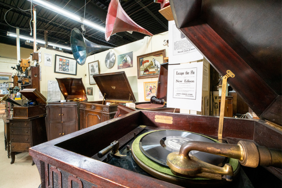 Early victrolas by Thomas Edison and other early pioneers of voice recordings.