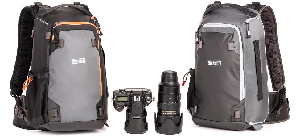 PhotoCross Backpack in carbon gray and orange ember