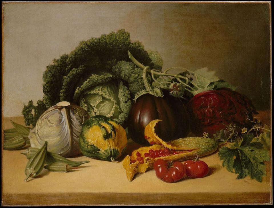 Some of the best still life artists were painters. Here, for example is the American painter James Peale's Still Life: Balsam Apple and Vegetables, from the 1820s. Image courtesy of the Metropolitan Museum of Art