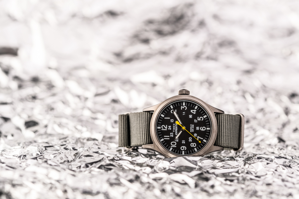 Aluminum foil is the setting for this Timex Expedition Scout 40mm Nylon watch with BluShark NATO Strap set to the classic official Timex time.