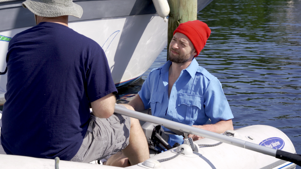 Captain Todd explaining the nuances of sailing to me as we rowed out to the boat. Thrilling stuff.