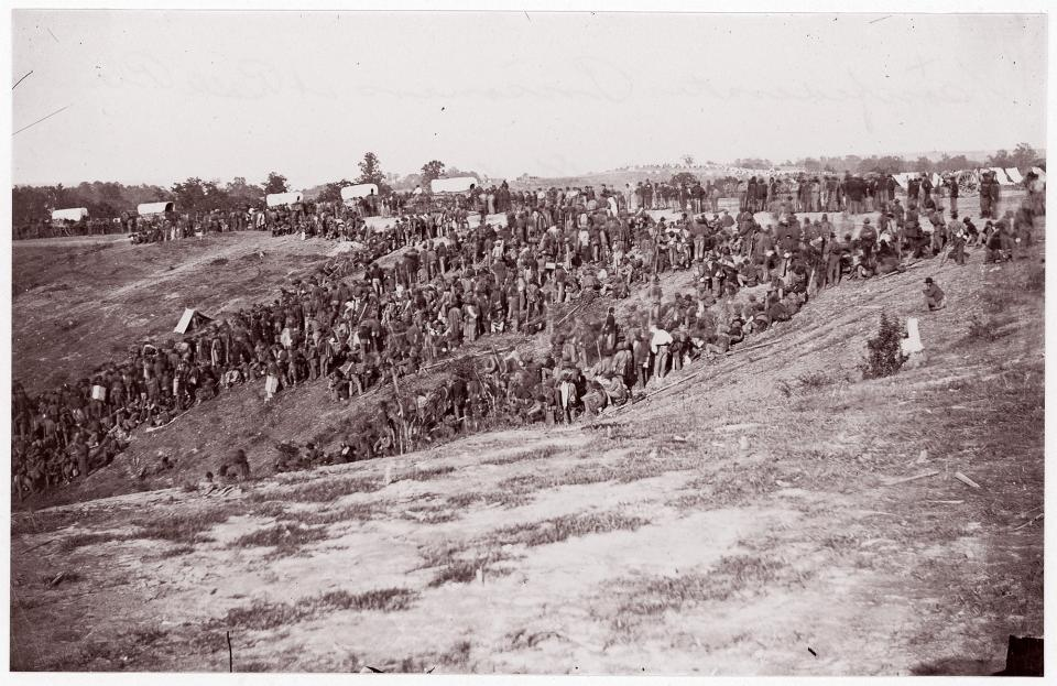 Figure 5. Timothy O'Sullivan, Confederate Prisoners at Belle Plain, albumen print from glass negative, 1863