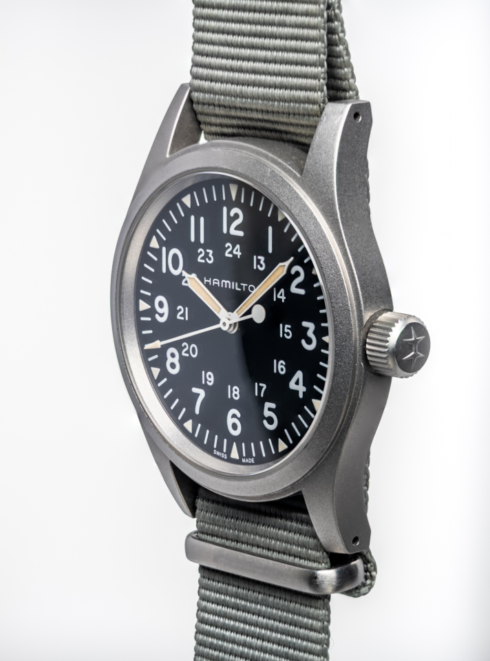 Focus stacking was used here to show sharpness all the way across the watch face and case. Hamilton Khaki Field Mechanical H69439931with BluShark NATO Strap.