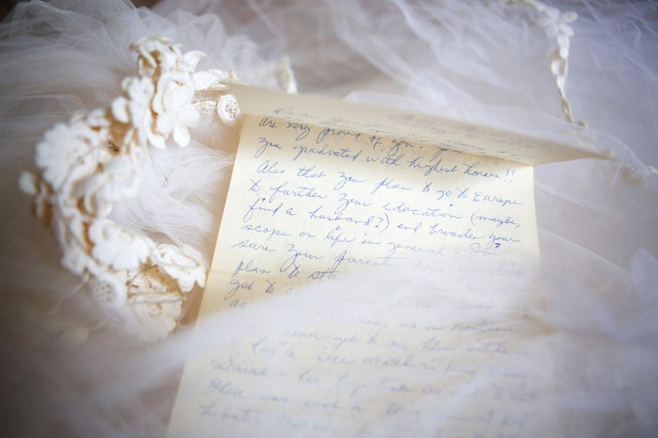 """A letter McClure received from her grandmother before a backpacking trip to Europe. """"She asked if I might perhaps find a husband. I was 22,"""" she says."""