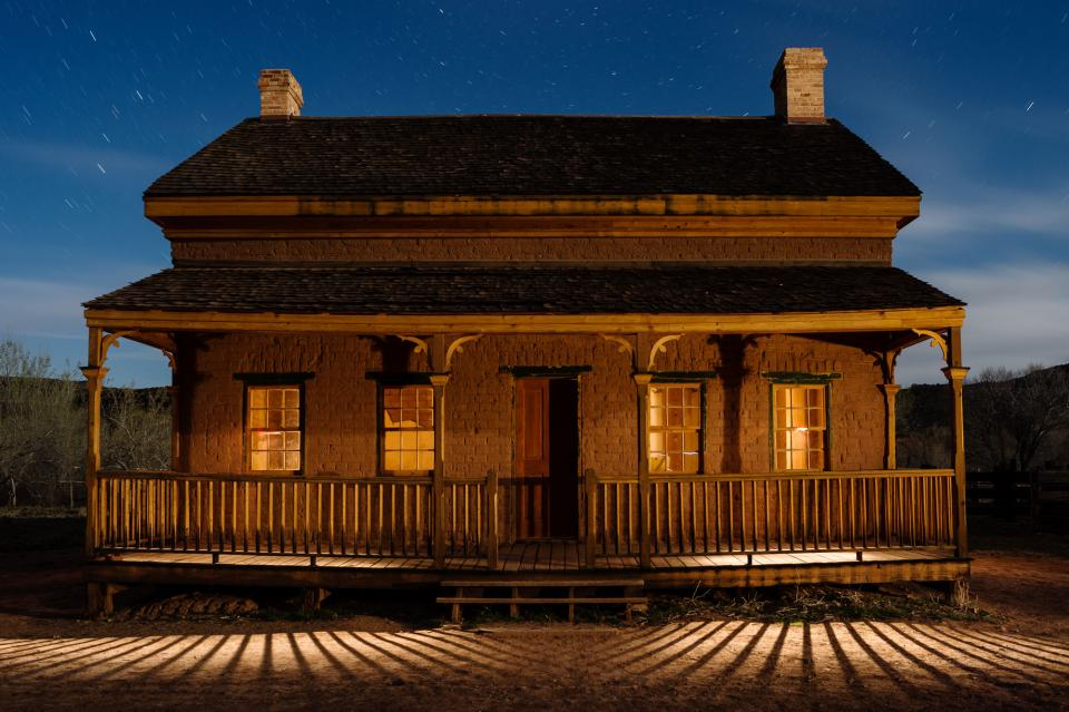 Light painting adds a new dimension to a house in Grafton ghost town just outside Zion National Park, Utah.