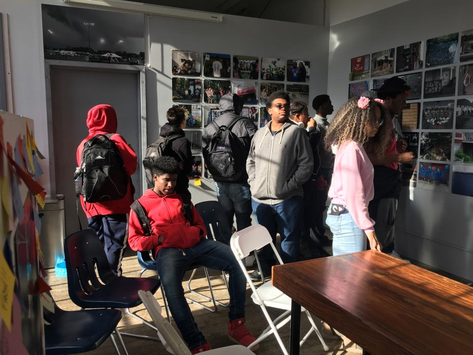 Students and teachers from the Newburgh Free Academy visit NCPP to view the exhibition Last Seen/Scene: Stories of Loss and Remembrance, Newburgh Community Photo Project, October 2017.