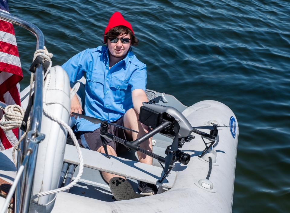 Shawn steadies the Inspire 2 as we prepare for the rarely seen dingy drone launch.