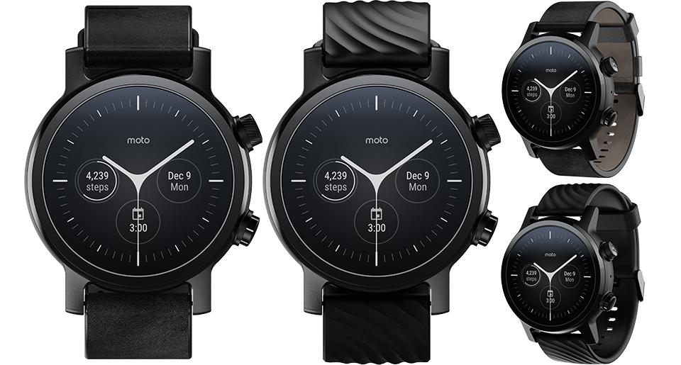Moto360 Phantom Black with leather strap and silicone strap