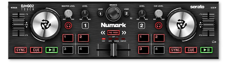 Numark DJ2GO2 Touch Pocket DJ Controller with Touch-Capacitive Jog Wheels