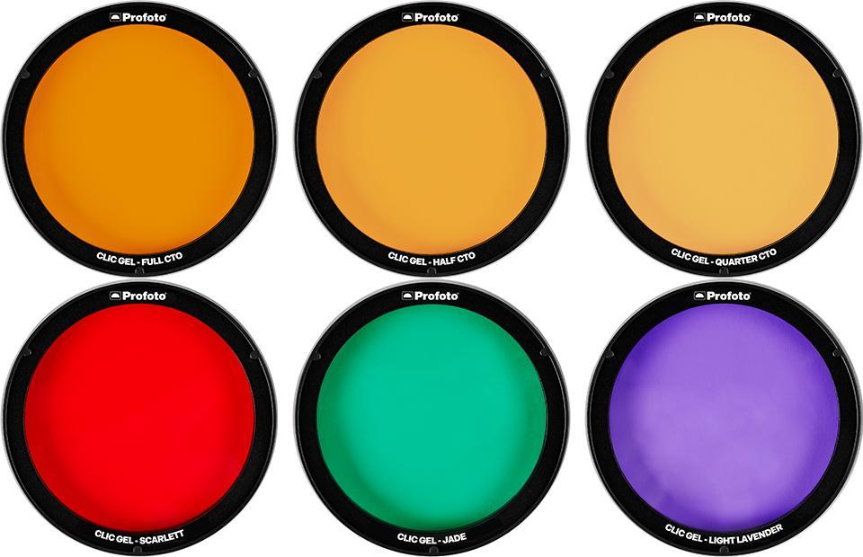 Top Clic Gels; Full CTO, Half CTO, Quarter CTO | Bottom Clic Gels; Scarlett, Jade, Light Lavender