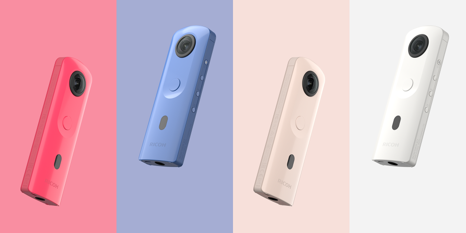 Ricoh THETA SC2 in Pink, Blue, Beige, & White