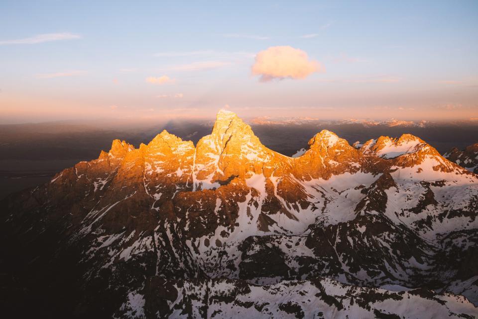 golden hour mountain aerial
