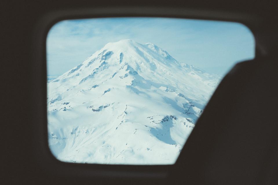 plane window mountain aerial photography