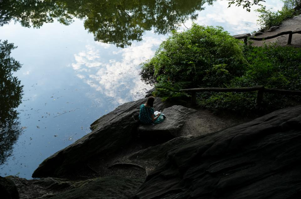Woman Reading by The Pond in Central Park (I)