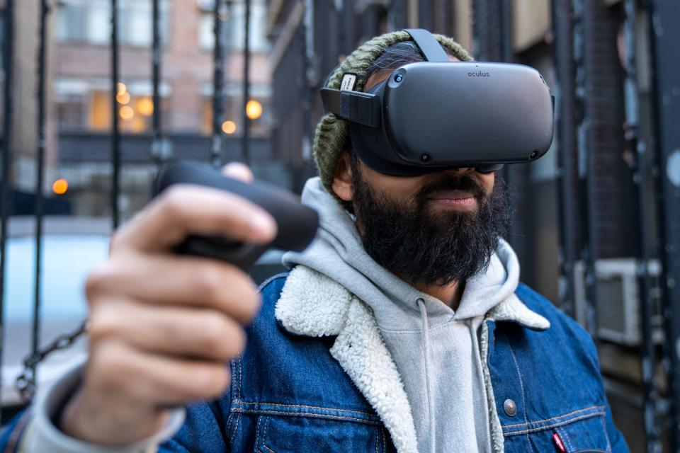 The Oculus Quest's wireless design means you can play it just about anywhere, even outside.