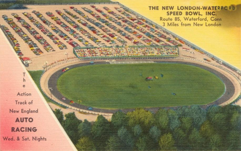 An old postcard of the New London-Waterford Speedbowl from back in the 1950s. Not much has changed over the 70 years it's been in operation.